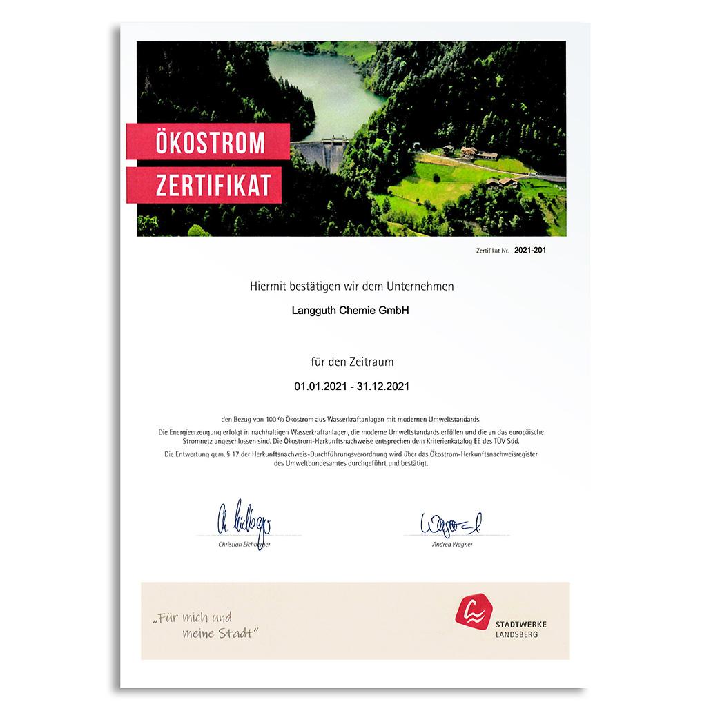 Ökostrom-Zertifikat 2021 Stadtwerke Landsberg